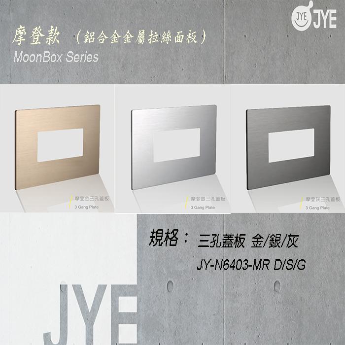 中ㄧ 月光系列 摩登款開關切面板- 三孔蓋板 銀/灰/金 JY-N6403-MR