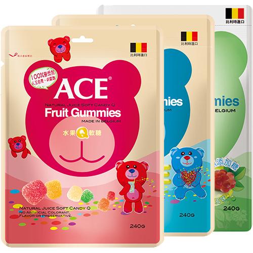 ACE Q軟糖240G水果字母無糖3種口味