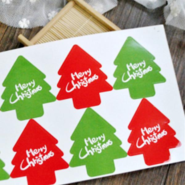 【貼紙膠帶3件58折】【BlueCat】經典紅綠聖誕樹造型貼紙(6枚入)