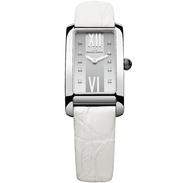 【僾瑪精品】Maurice Lacroix 艾美錶 奢華典雅時尚方形鑽錶-白/20.9mm/FA2164-SS001-150