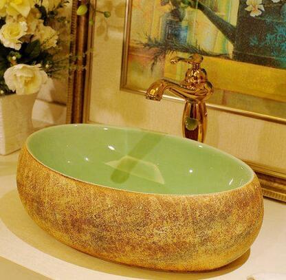 設計師美術精品館歐式複古長方形橢圓形景德鎮藝術台盆洗臉盆洗手盆磨砂綠