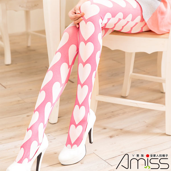 Amiss襪子團購網【A121-99】獨家★日系經典-淘氣大桃心(褲襪款)