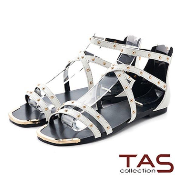 TAS羅馬風小圓鉚釘繫帶後包涼鞋-簡約白