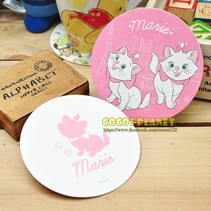 迪士尼杯墊瑪麗貓瑪莉貓杯墊吸水杯墊卡片杯墊卡片紙杯墊圓型杯墊COCOS MA035