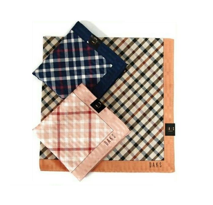 【京之物語】日本製DAKS經典斜格紋女性絲巾(手帕)-橘色/藍色/粉色