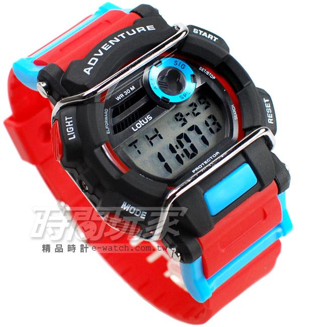 Lotus大錶面防撞運動休閒錶多功能電子錶女錶學生錶TP1352M-05紅藍