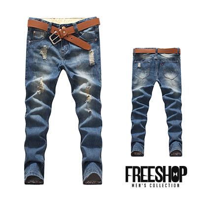 牛仔長褲Free Shop QTJC120日韓風格復古刷白抓破抽鬚設計反摺變形蟲印花牛仔長褲有大尺碼