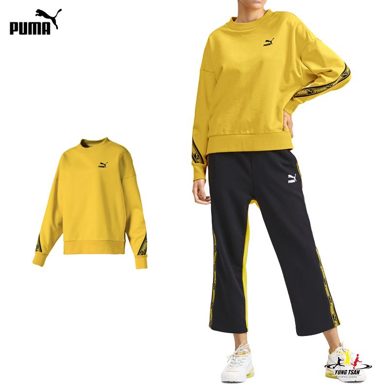 Puma Tape 女 黃 長袖 流行系列 上衣 大學T 棉 春秋新款 T恤 長袖 59601920