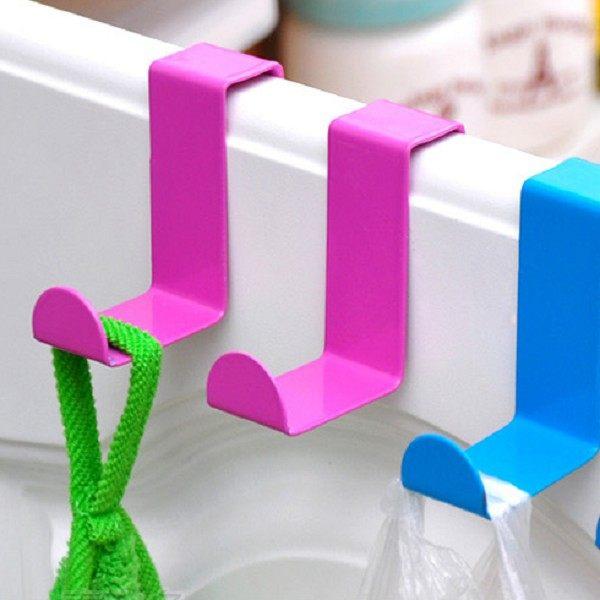 不銹鋼 Z型 彩色 兩用掛勾 顏色自選 櫥櫃 門後 衣櫃 一組兩入《4G手機》