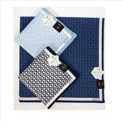 【京之物語】日本製DAKS(淺藍/深藍/黑色)抗菌防臭加工男性純棉毛巾手帕