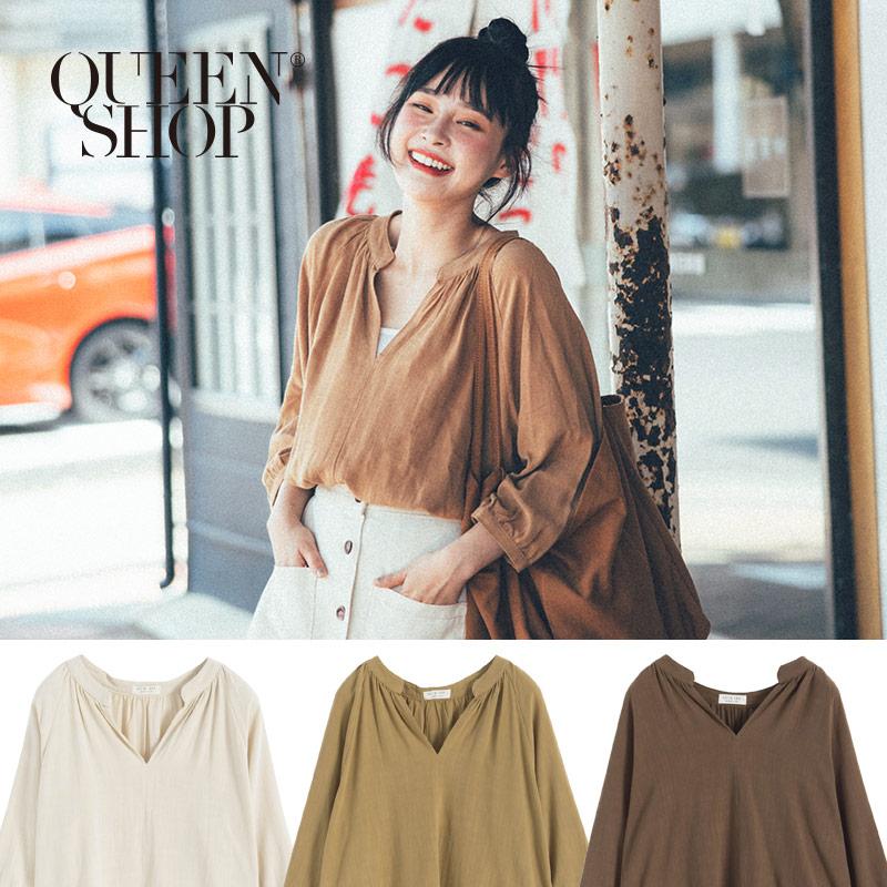 Queen Shop【01120207】素色V領棉麻上衣 三色售*現+預*
