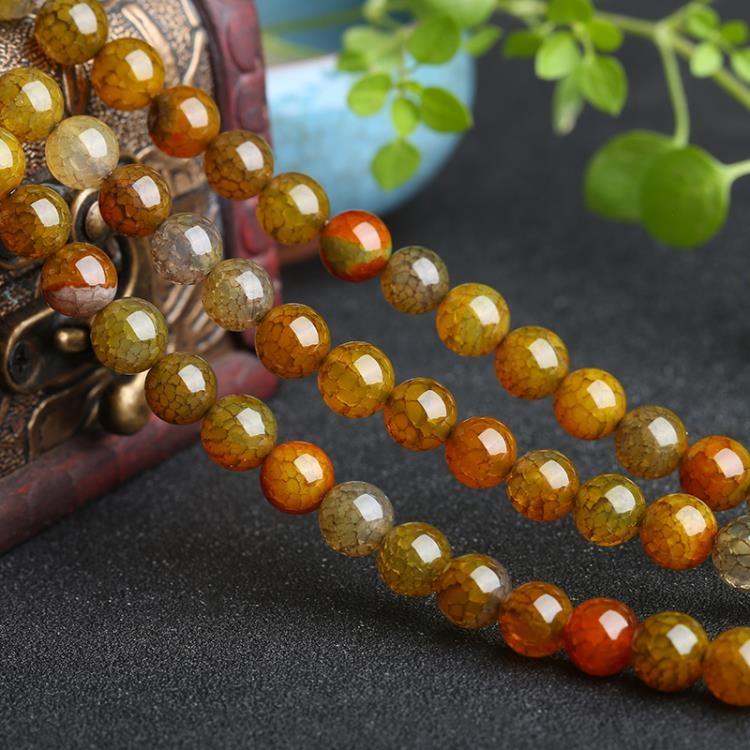 [超豐國際]茶龍紋瑪瑙散珠DIY散珠手鏈項鏈半成品手工串珠配1入