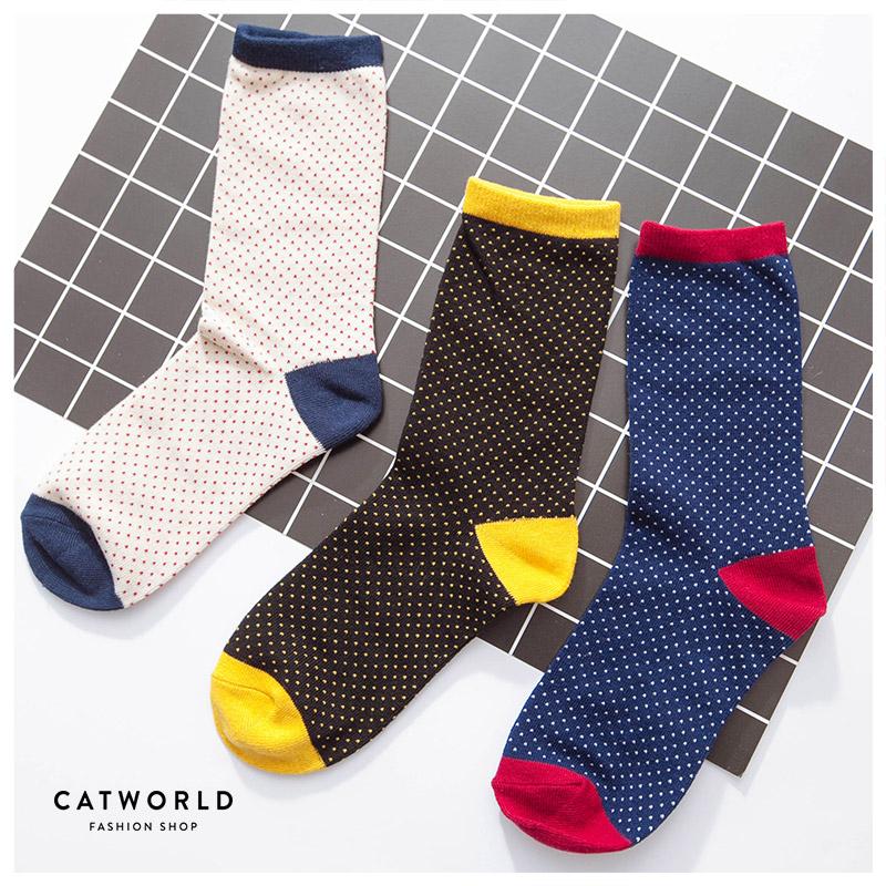 Catworld 水玉點點撞色棉質長襪【18900076】‧F