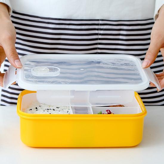 米菈生活館M126-1多層分隔保鮮飯盒密封便當卡扣菜盒野餐三明治露營食物外出