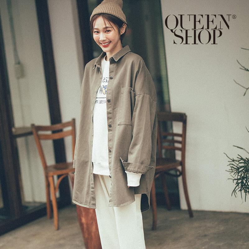 Queen Shop【02071179】斜紋單口袋長版排扣外套 兩色售*現+預*