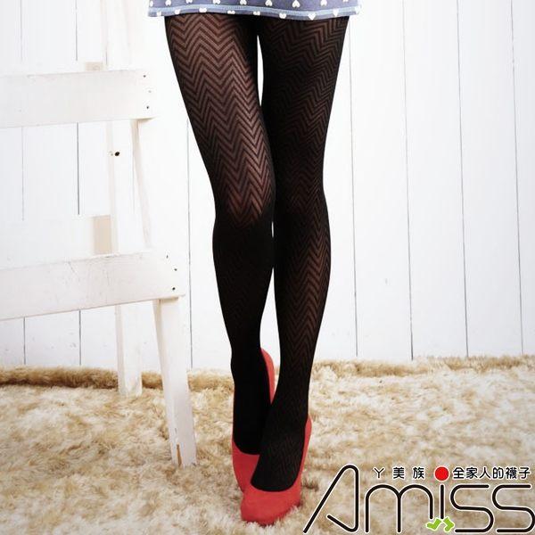 Amiss-襪子團購網♥【A133-88】流行花紋褲襪-大波浪