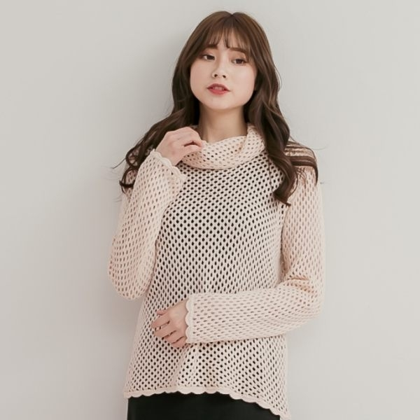 捲領編織鏤空感長袖罩衫   (黑 白 皮粉 軍綠)四色售