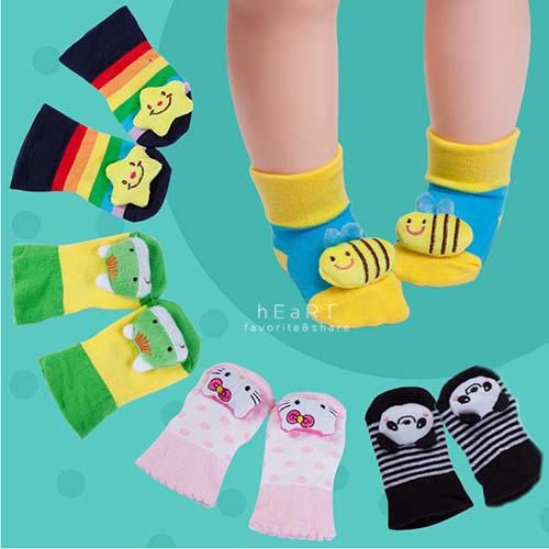 可愛立體娃娃防滑嬰兒地板襪童襪止滑襪短襪嬰兒襪