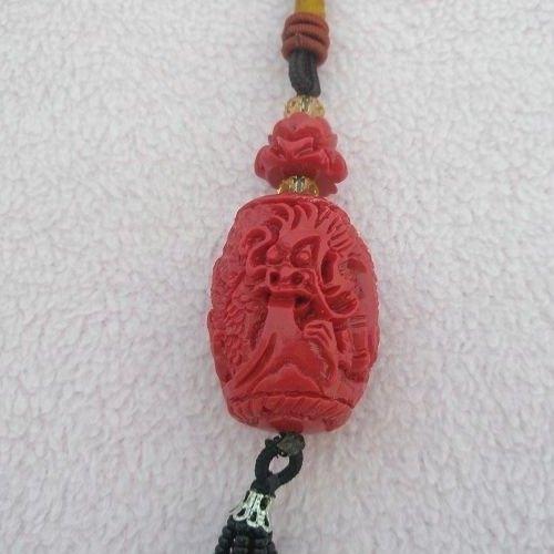 【歡喜心珠寶】【祥龍獻瑞加流蘇吊飾】天然有機寶石海竹珊瑚,立体雙面精雕祥龍獻瑞,超低價