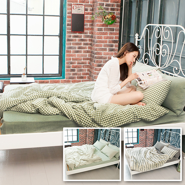 BELLE VIE 簡約設計自然無印 水洗純棉雙人特大床包被套組【兩款任選】