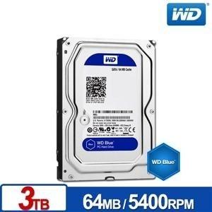台中平價鋪全新WD30EZRZ藍標3.5吋3TB硬碟機64MB快取代理商盒裝貨3年保固