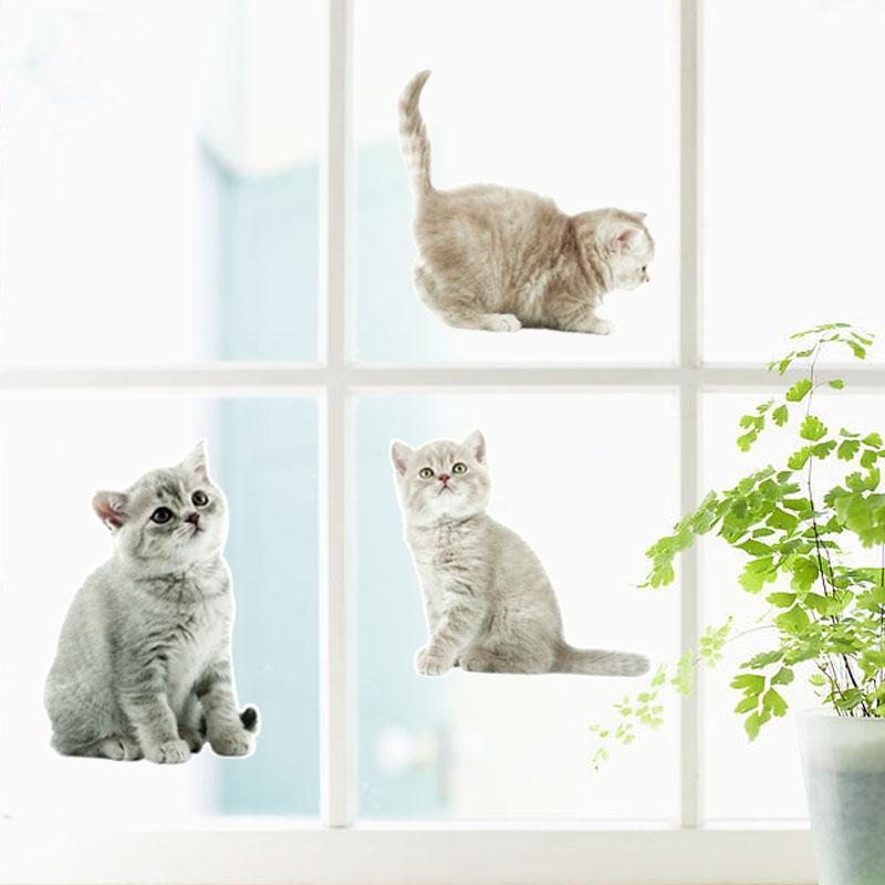 NEWSIM094立體貓咪無膠靜電玻璃窗貼3D壁貼