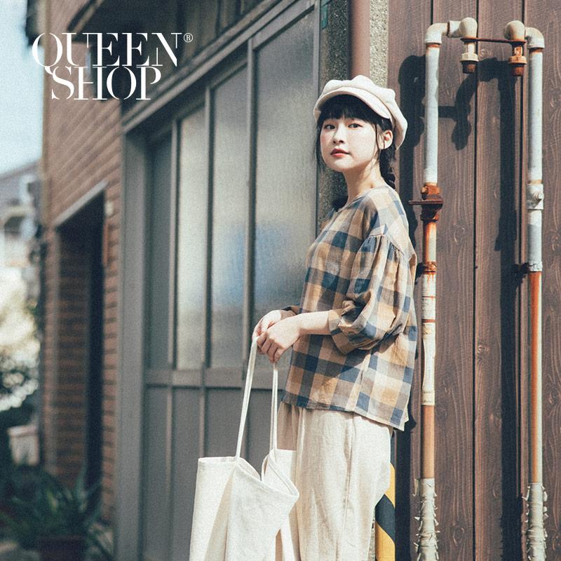 Queen Shop【01120209】大地配色格紋棉麻上衣*現+預*