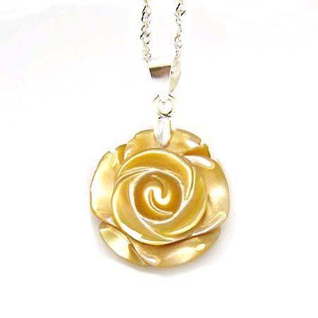 黃貝玫瑰花純銀項鍊