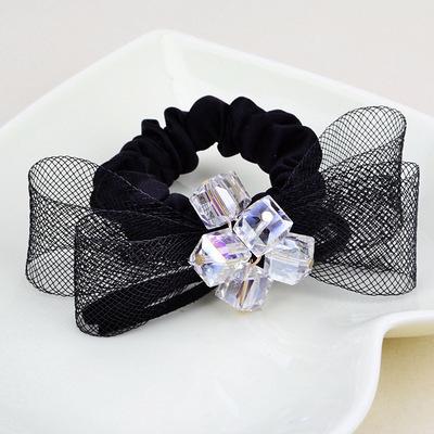 NiNi Me韓系髮飾蝴蝶結立體壓克力水晶網紗款髮束髮束H9094
