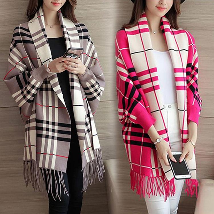 韓版針織寬鬆流蘇罩衫外套披肩氣質