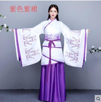 熊孩子漢服女2017新款改良古裝襦裙主圖款3紫色紫裙