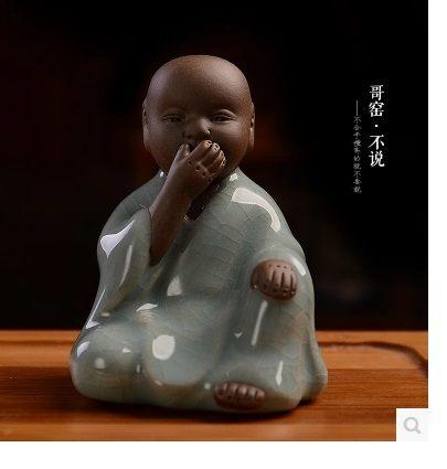 陶瓷哥窯茶寵開片四不小和尚圖一4