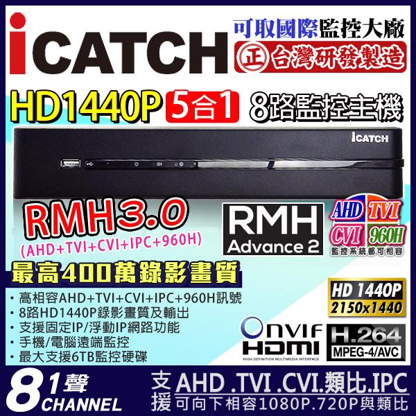 AHD 8路DVR HD 14400P icatch監視器主機1080P 4MP 1080P 720P 960H RMH-0828EU-KA2 3