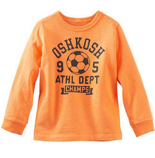 Carter's/OshKosh B'gosh 美國童裝 足球 純棉T恤 長袖 橘色 12M 18M 24M