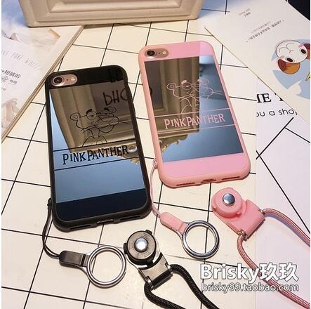 【SZ15】卡通頑皮豹鏡面 iphone 6s 手機殼 iphone 6s plus手機殼i7 iPhone 7/8 plus手機殼