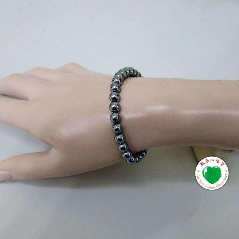 【歡喜心珠寶】【人造鈦赫茲圓珠6mm能量手鍊】30顆.重約8g「附保証書」日本最流行能量手鍊