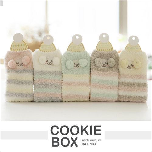 立體毛球條紋羊珊瑚絨襪長襪中筒襪居家保暖絨毛秋冬綿羊聖誕交換禮物*餅乾盒子