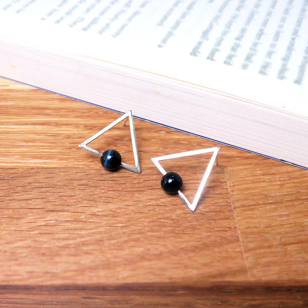 鷹眼石三角鑲石耳針-925純銀天然石耳環