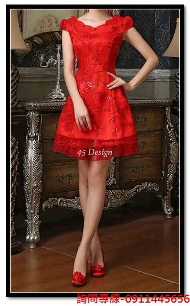 45 Design定做預購7天到貨紅色蕾絲旗袍新娘禮服旗袍結婚敬酒服短款改良旗袍裙秋春