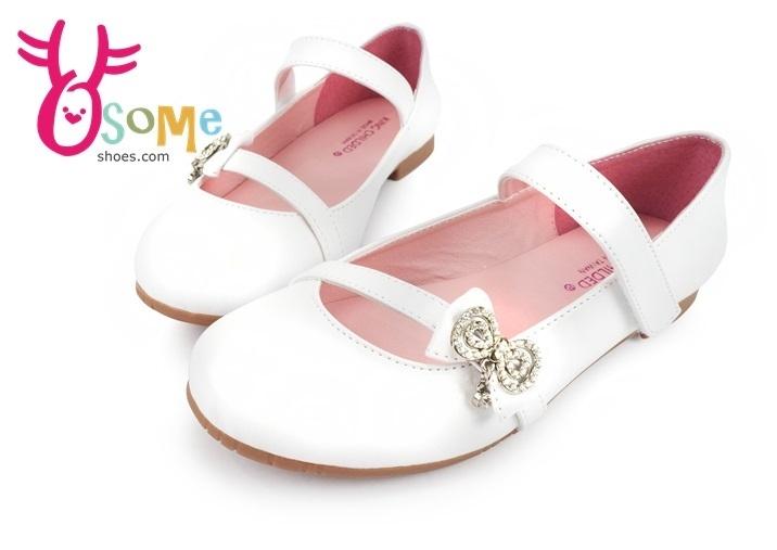 女童娃娃鞋 真皮 台灣製 亮鑽 表演 花童 小皮鞋C2311#白色◆OSOME奧森童鞋/小朋友