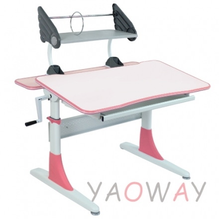 耀偉費蕾雅成長桌粉色系白色美耐板面-100桌寬全能桌升降桌兒童成長桌書桌課桌