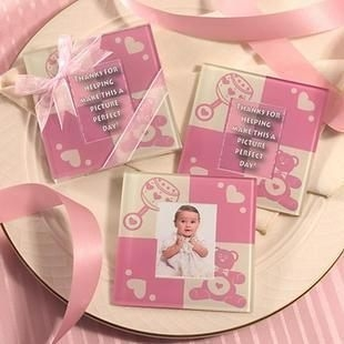 粉紅熊相框杯墊 (兩入裝) 婚禮小物 送客小禮 婚禮佈置/組