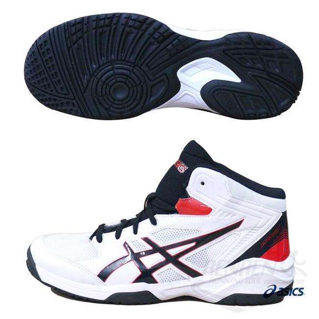 ASICS亞瑟士女童藍球鞋白紅黑DUNKSHOT MB 8穩定.包覆籃球鞋款TBF139-0190胖媛的店