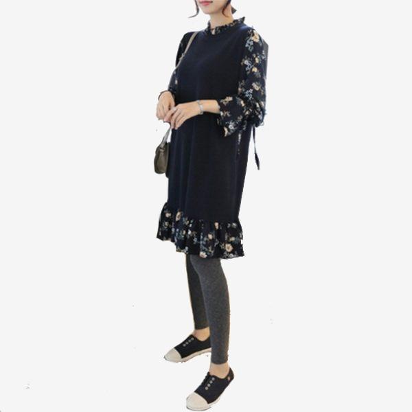 假兩件 純色針織拼接碎花雪紡袖領洋裝 (藏青色)