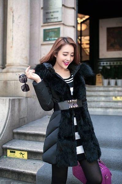 俏魔女美人館2014冬季新款韓版高檔修身羽絨服奢華皮草大毛領中長款加厚女外套