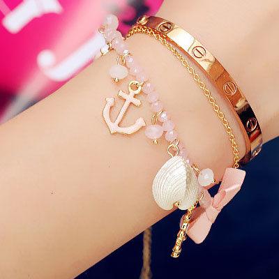 海洋風貝殼珍珠手鍊O2469雙兒網