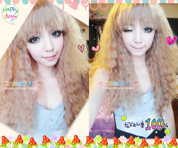 Kinkee假髮MIKIYO示範韓系高仿真安娜蘇洋娃娃款玉米燙長捲耐熱假髮H0052