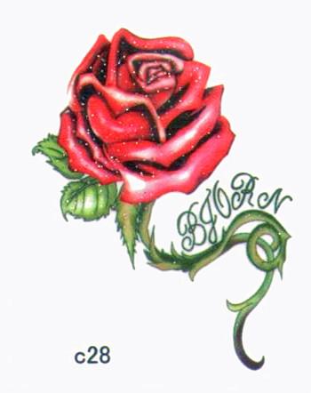 薇嘉雅 玫瑰花 超炫圖案紋身貼紙 c28
