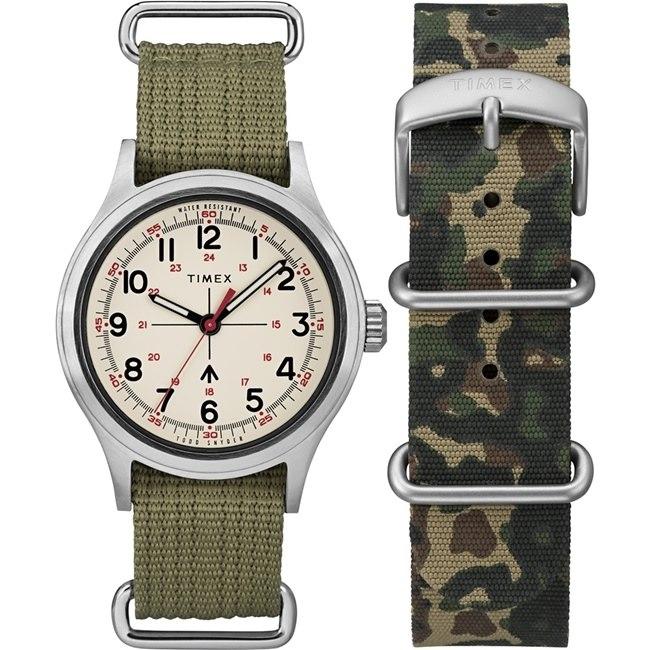 【TIMEX】天美時xTODD SNYDER聯名限量MILITARY 復古軍用腕錶組(軍綠TXTWG017800)