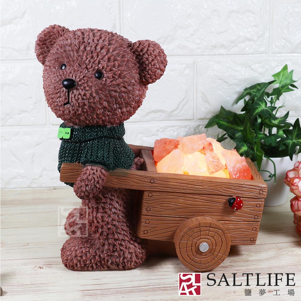 【鹽夢工場】創意系列-寶貝熊鹽燈(綠)